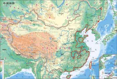 海平面上涨50米后的中国地图