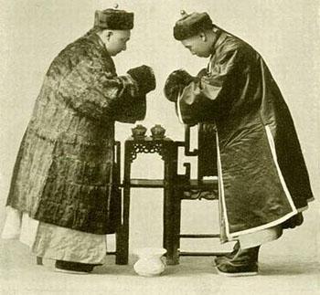 清代生活老照片 中国人见面时的礼仪