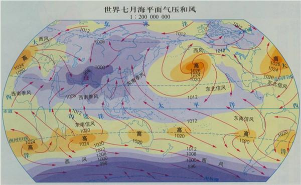 2013高考地理重点地图:世界7月海平面气压和风图片