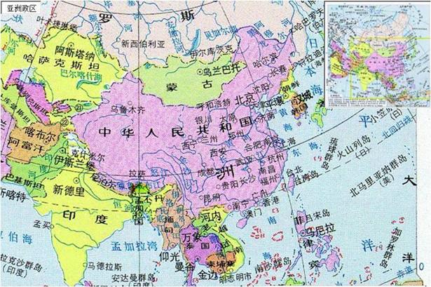 2013高考地理重点地图:亚洲政区