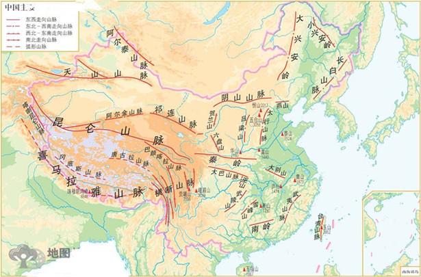 2013高考地理重点地图:我国主要山脉