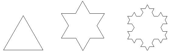 由此得到一个六角星;再将这个六角星的每个角上的小等边三角形按上述