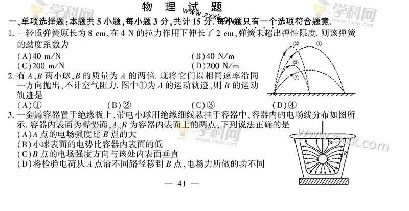 2016年江苏物理高考试题及答案(图片)