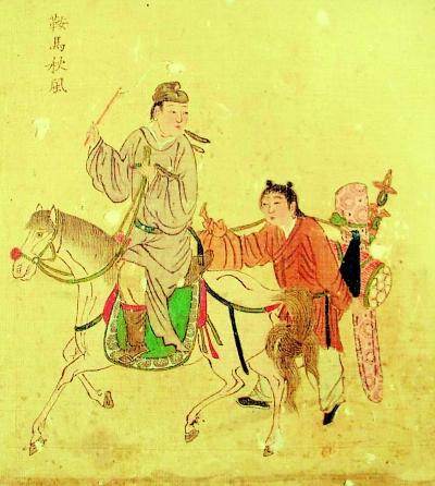 古人骑马矢量图