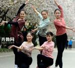 高校舞蹈系女生花海起舞 集体秀一字马