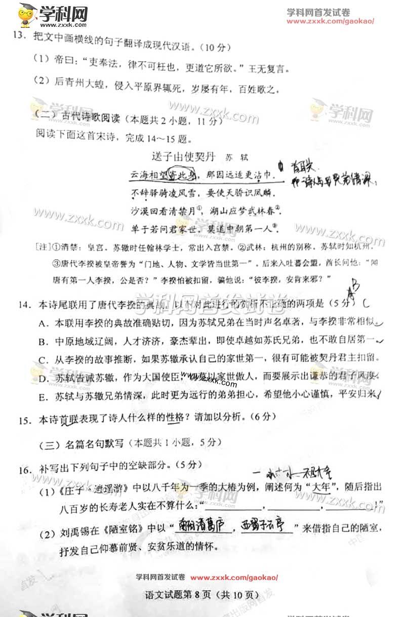 2017年宁夏语文高考试题答案