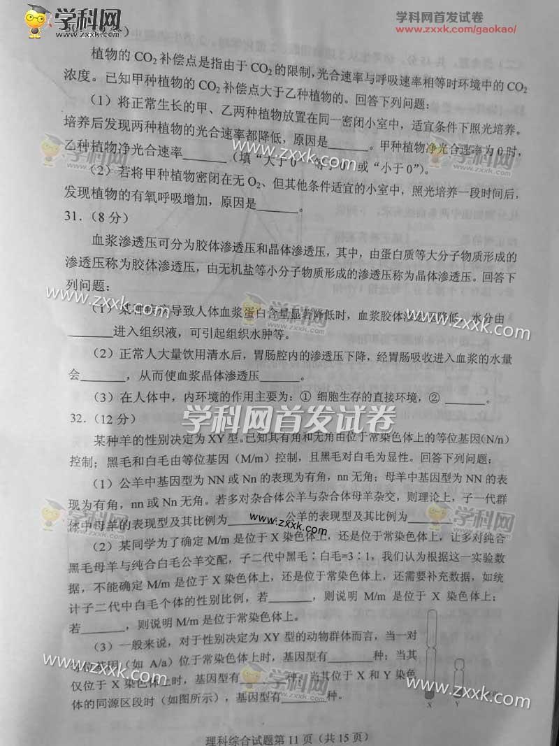 2017年江西高考理综真题已公布[1]