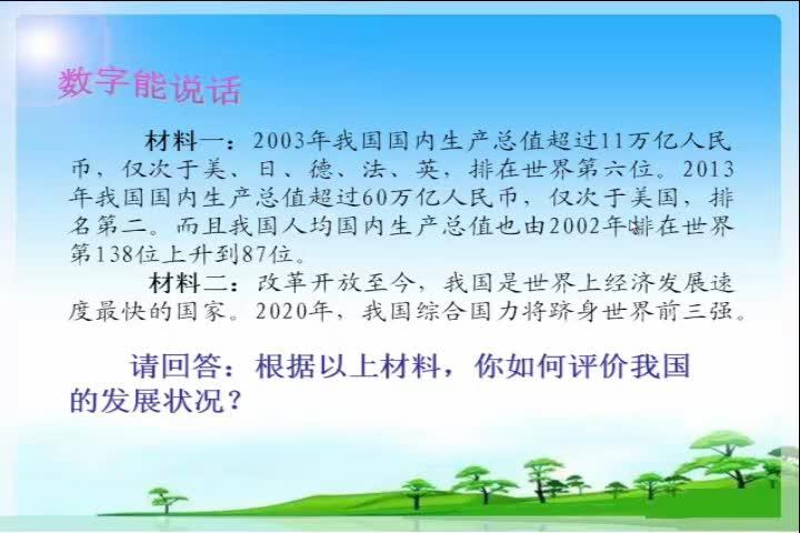 鲁教版思想品德九年级第11课在旋转的世界舞台上——国际竞争中的中国 微课